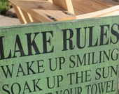 Lake Rules Sign Cabin decor, Lake house decor, Cottage Custom Rules Sign Primitive Typography 14x24 subway sign customize to your cabin