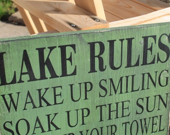 Lake Rules Sign Cabin decor, Lake house decor, Cottage Custom Rules Sign Primitive Typography subway sign customize to your cabin