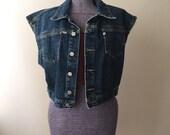 Vintage Esprit Cropped Denim Jean Vest