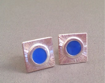 Sterling silver and resin enamel studs in Ocean Blue