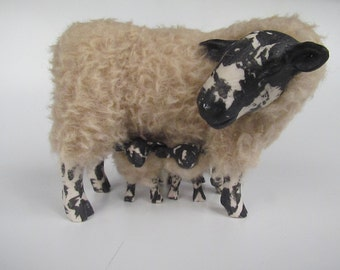 Handcrafted Welsh Beulah Speckled Face With Curious Twins