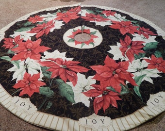 "Extra Large ""Christmas Joy"" Round Poinsettia Tree Skirt  IN STOCK"