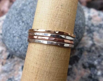 Stacking Ring Set, Set of Four, Mixed Metal Stack Rings, Gold-filled Stackable Rings, Silver Stacking Rings, Skinny Rings, Knuckle Rings