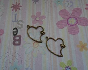 10pcs antique bronze heart findings 30x30mm