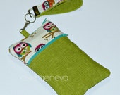 Made to Order Green & Aqua Owl Phone Case with Wristlet Wallet Zipper Closure Front Zipper Pocket iPhone 4 5 6 Plus Samsung Galaxy Note