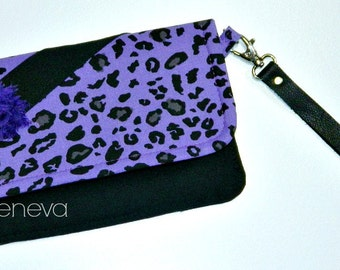Black and Purple Leopard Cheetah Wallet Cell Phone Case Wristlet Credit Cards Zipper with Leather Wristlet