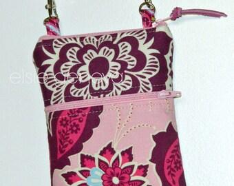 Pink & Purple Floral Phone Case Wristlet - Optional Shoulder Strap - 6 Plus Phone Case - Large iPhone 6 Plus
