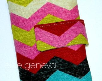 Bright Chevron & Natural Japanese Linen Spill Prooof Interchangeable Circular DPN Knitting Needle Case Organizer Roll
