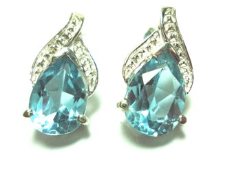 Blue Topaz Pear Stud Earrings in Solid Sterling Mounting