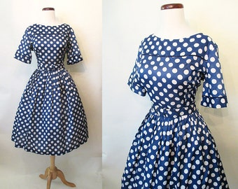 "Adorable 1950's Polka Dot Day Dress with Matching Belt by ""Lou Ross of California"" Rockabilly VLV Pinup Girl Summer Dress Size-Large"