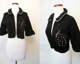 Cute 1950's Black Bolero Cut Cable Knit Sweater Trimmed in Pearls and Rhinestone Cut Outs Rockabilly Sweater Girl Pinup Size-Medium-Large