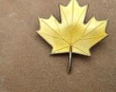 Vintage Norway Sterling Enamel Yellow Maple Leaf Brooch Aksel Holmsen
