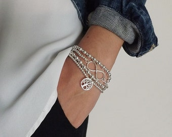 Sterling Silver ball bracelet ~ Sterling silver bracelets~ layered bracelets~ Sterling silver bracelet ~ Stackable bracelets ~ Mom bracelet