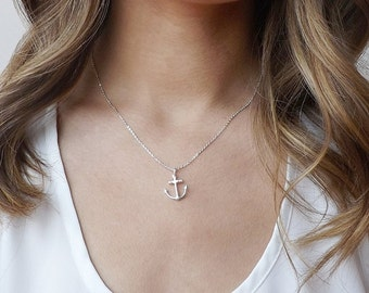Silver anchor necklace, Minimalist pendant necklace ,Anchor jewelry, Anchor Necklace, anchor charm, Simple charm necklace, beach jewelry