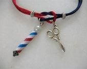 Barber Pole And Scissors Bracelet For Man