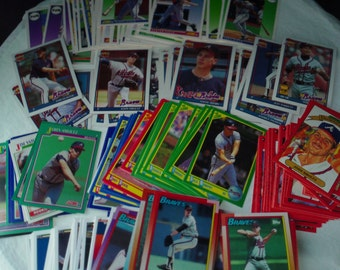 Atlanta Braves FREE SHIPPING! set of 219 vintage baseball cards for decoupage, framing, crafts or collecting MLB 1990-92 stars nl Smoltz