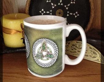 Oak, Ash, and Thorn Triquetra 15 oz coffee mug