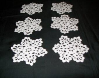 Crochet Pearl Snowflakes set of six