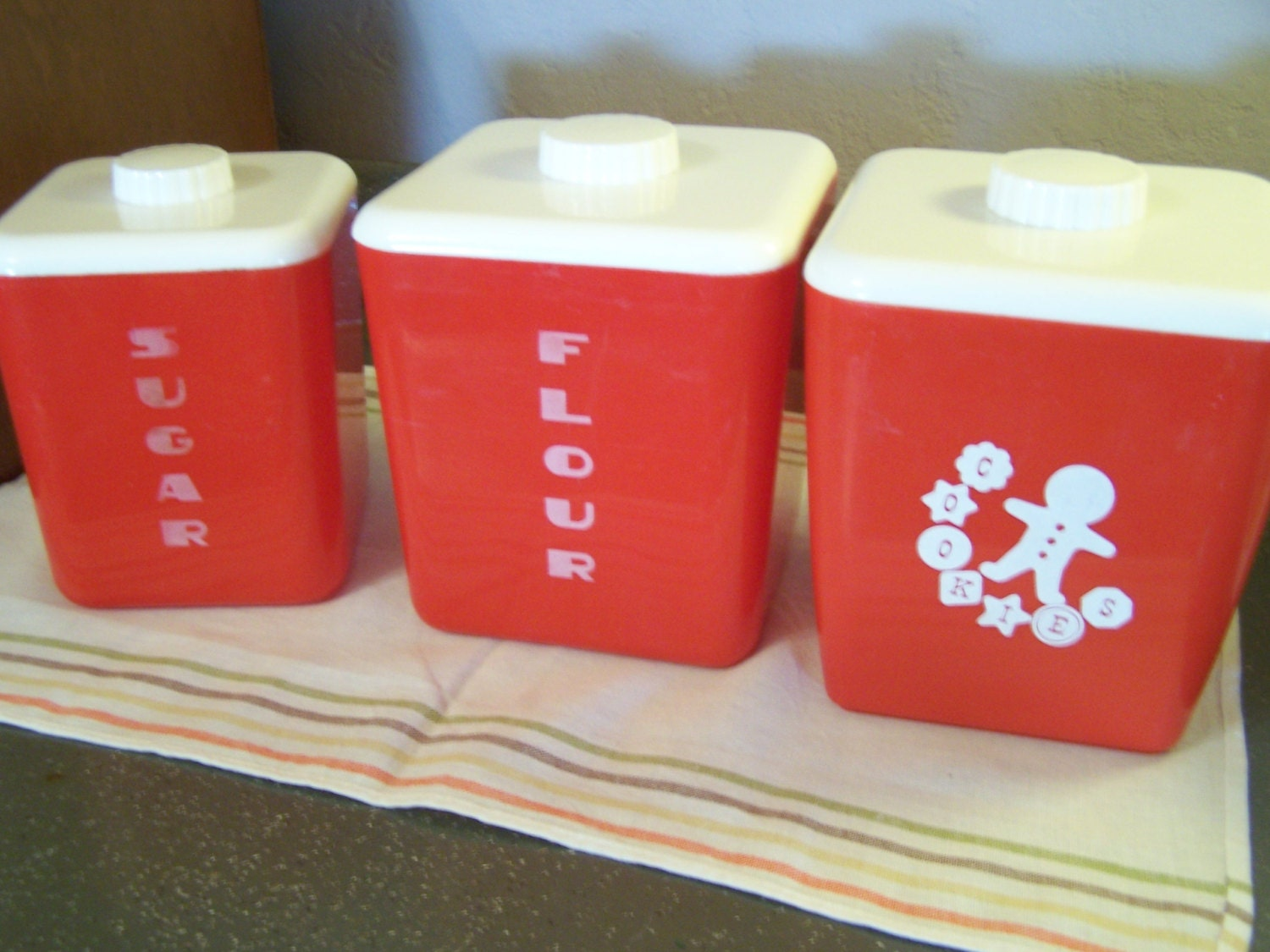 Mid Century Plastic Canister Set Red & White Lustro Ware 3
