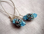 Superduo Beaded Bead with Swarovski Crystals Earrings - Silver and turquoise, Frozen colors