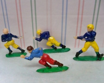 4 Football Player Cake Toppers ~ Miniature Figures Playing Football ~ Action Figures Hard Plastic With Painted Features - Mint Condition