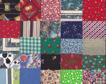 Vintage Fabric Precut 2 1/4 Inch Square Pieces 50 Cotton Material 4 Charm Quilting Sewing Projects Variety Pack 12M