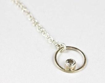 Bridesmaid Silver Necklace, Gemstone Pendant, Silver Circle Necklace, White Wedding Necklace, White Topaz Necklace, Eliora Necklace