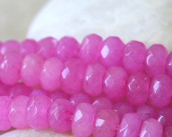 6x4mm Rondelle - Faceted Dyed Jade Rondelle Beads For Jewelry Making Supplies - Bubblegum Pink 4x6mm rondelle (7.5 Inch Strand ~ 45 beads)