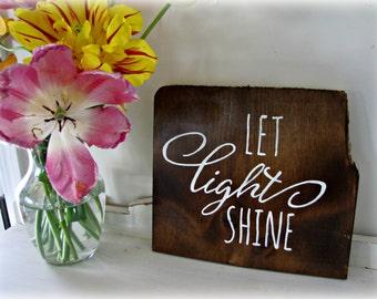 LET LIGHT SHINE Loopy Script Reclaimed Barn Wood Sign- 100 year old Barn Wood Wall Decor