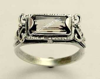 Sterling silver ring, smoky quartz gemstone ring, delicate silver ring, stone ring, rectangle stone ring - The sky is the limit R1400
