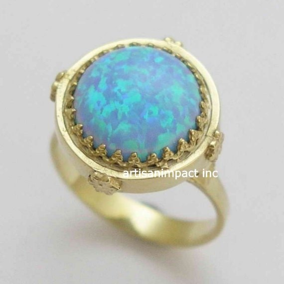14k Yellow gold ring, crown ring, Victorian ring, opal ring, October birthstone ring, engagement ring, floral ring - Something blue RG1247