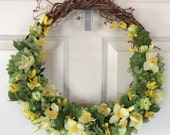 Spring green and yellow grapevine wreath
