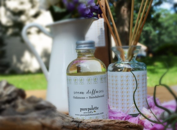 Reed Diffuser Set and Refill Oil Oakmoss Sandalwood Alcohol Free with Natural Undyed Reeds Eco Friendly Vegan