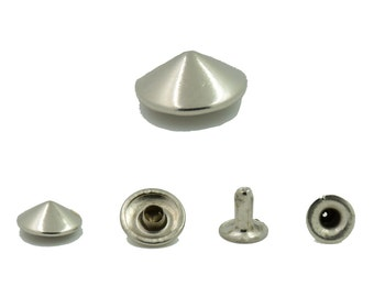 300 pcs.Silver Tone Metal Cone Rivets Studs Decorations Findings 10 mm. KCRN10
