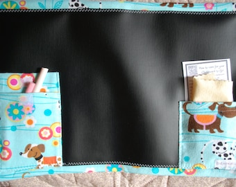 Chalkboard to Go travel placemat chalkboard - puppies and flowers