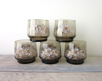 Vintage Brown Cocktail Glasses with Daisy Pattern Set of Five