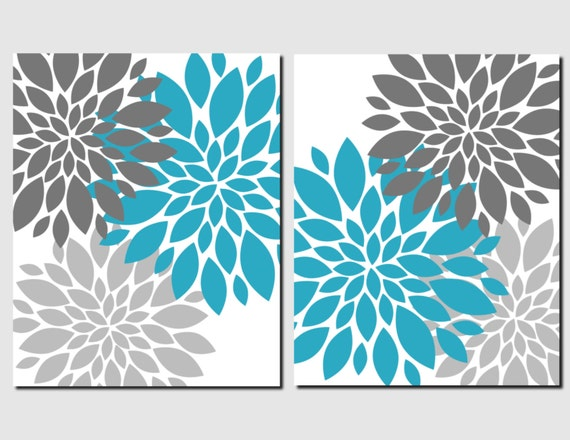 Teal grey wall art girls bedroom art bathroom pictures living for Teal wall art