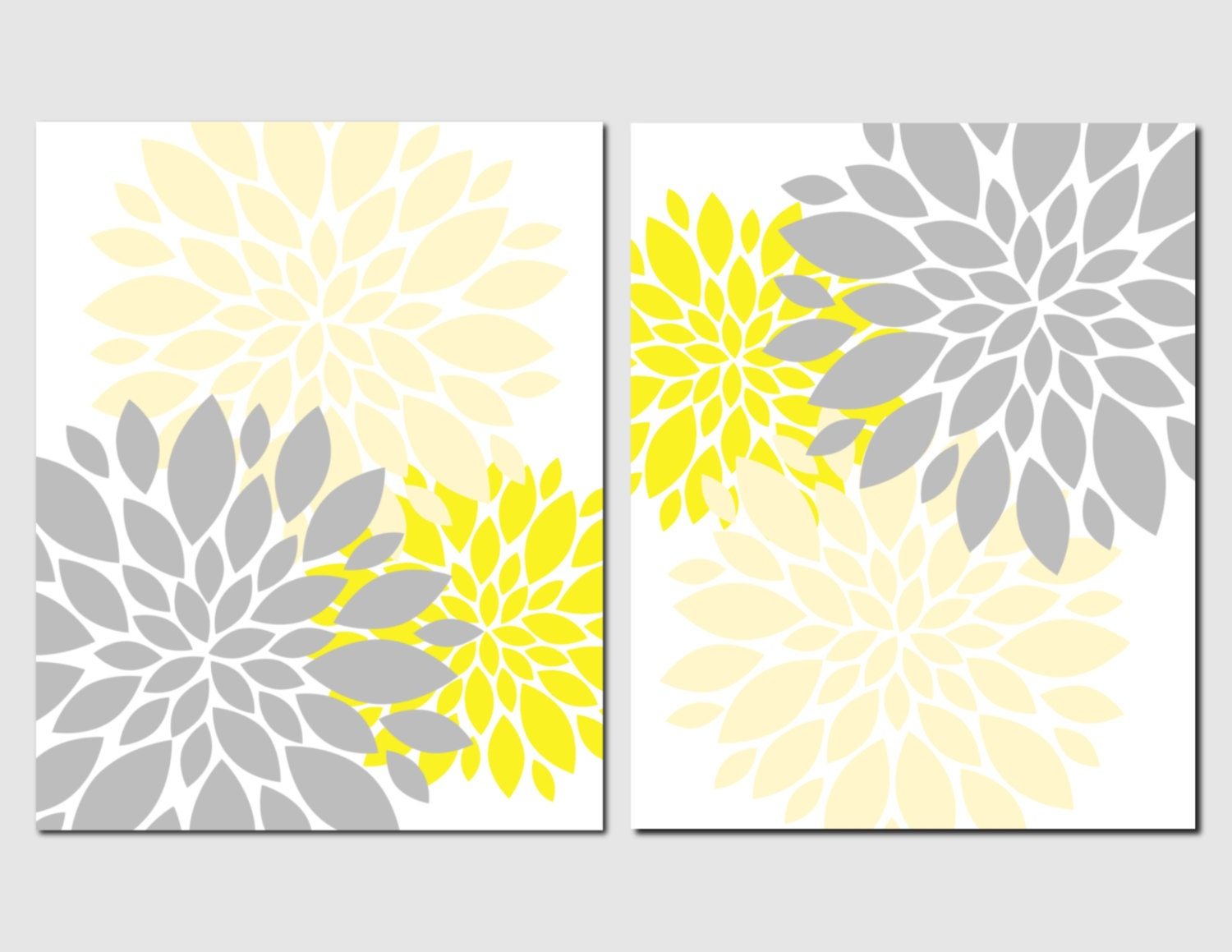 yellow and gray floral wall art prints or canvas by vtdesigns. Black Bedroom Furniture Sets. Home Design Ideas