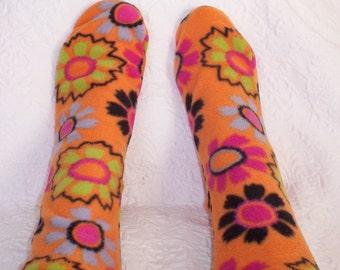 Warm Socks for Women, Boot Socks, Handmade Womens-Ladies Footwear, Orange Print Socks, Handmade Gifts under 10.00 Dollars, Soft Bed Socks
