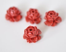 10pcs Coral lotus flower beads cabochons 14mm Pink and Red -(SF07)