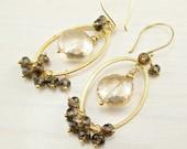 Mystic Yellow Quartz Earrings, Smoky Quartz, Matte Gold Hoop, Gemstone Chandelier, Golden Brown Earrings, Gold Wire Wrap Earrings