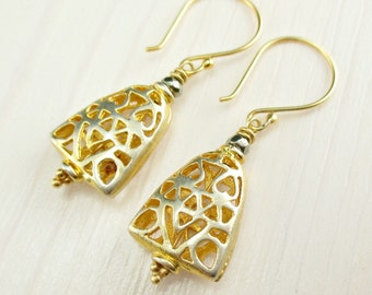 Bali Gold Dangle Earrings, Pyrite, Gold Metal Earrings, Gold Filigree, Pyramid, Triangle, Gold Everyday Earrings Bali Gold Vermeil Earrings