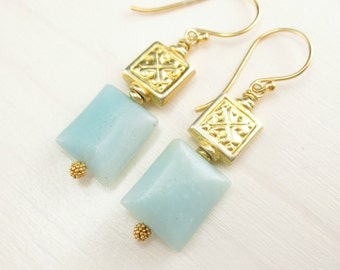 Natural Aquamarine Earrings Aquamarine Gemstone, Gold Aquamarine Earrings, Vermeil Rectangle Aqua Blue Gold Dangle Earrings March Birthstone