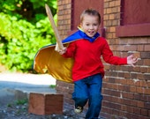 Christmas Vampire Cape Reversible Colors Blue and Yellow , 2T - 7T, custom colors imaginary play ships fast worldwide