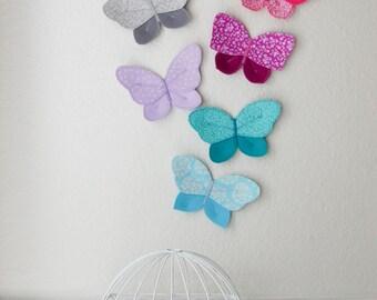 3d fabric butterfly, wall decor for girls room, nursery decor. aqua butterfly fabric wall decal. 3d wall art