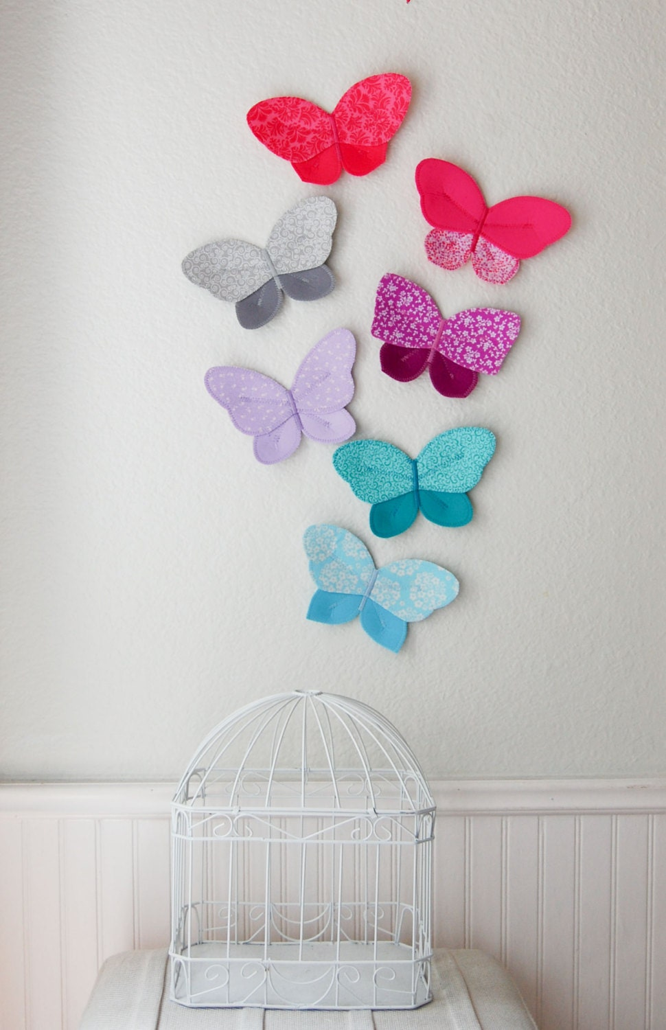 Nursery Wall Decor Butterflies : D fabric butterfly wall decor for girls room nursery