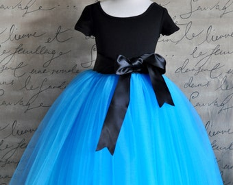 Turquoise Flower Girl Tutu. Fully sewn tutu with satin sashed waist. Your choice of sash color.