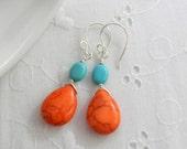 Turquoise blue and orange earrings, summer earrings, beachy earrings, Bright earrings, Handmade Dangle earrings