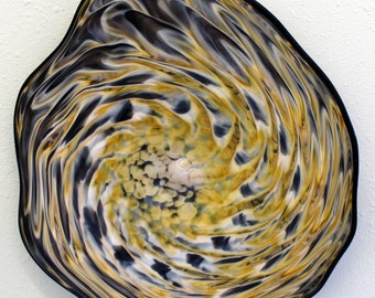 Blown Glass Platter Hand Blown Glass Art  Patterned Wall Platter Bowl BLACK GOLD 5948 ONEIL