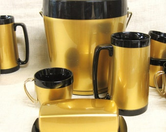 Bar Set , Beverage Set , Serving Set , Ice Bucket , Coffee Cups , Black and Gold , Drink ware , Party Set , Gold , Bar Ware , Retro , Sets